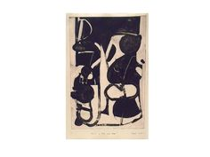 Fruit of the Jazz Age - Black and White Contemporary Abstract Monotype | From a…