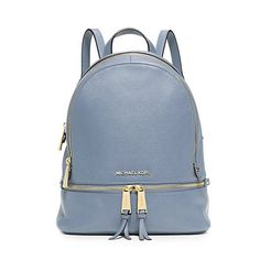 MICHAEL Michael Kors Rhea Small Leather Backpack Sky Blue - michaelkorsers.com