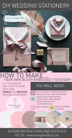 How to make DIY Luxury Blush Embossed Stationery