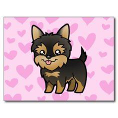 Yorkshire terrier dos desenhos animados (filhote d cartões postais