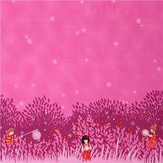 border fabric Summer Night Lights Magenta Michael Miller 1