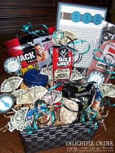 Gift basket ideas for guys lilcheekies give-it-away may have to change from the father thing to Christmas and for my boyfriend but this seems perfect!