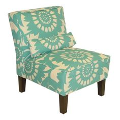 pop of print and color. Gerber slipper chair  in Surf. $299.99 or on sale for 250 at Target.