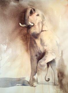 Série Elephant show, issue d'un voyage en Thaïlande.   Sélectionné au Salon International de l'aquarelle d'Uckange, 2016.   41 x 57 cm hors cadre. Aquarelle marouflée sur panneau de bois et vernie. Elephant show serie, from a trip in Thailand.  41 x 57 cm without frame.  En lire + ...