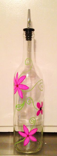 Hand Painted Glass Oil Dispenser Wine Bottle by Glass Bottle Crafts, Wine Bottle Art, Painted Wine Bottles, Detergent Bottle Crafts, Dish Detergent, Crafts For Seniors, Senior Crafts, Mosaic Bottles, Decoupage Glass
