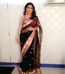 Buy Madhuri Dexit Black and Red Heavy saree with blouse madhuri-dixit-saree online