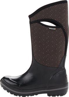 Bogs Women's Plimsoll Tall Herringbone Waterproof Insulated Boot, Gunmetal