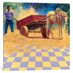 """East Urban Home 'Dusty Horse Cart' Painting Print on Canvas Size: 18"""" H x 18"""" W x 0.75"""" D"""