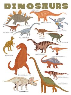 ∆ 11x14 print of some awesome dinosaurs ∆ Printed on soft white, 25% cotton paper ∆ Illustrated in gouache by Keiko Brodeur ∆ Printed in the USA