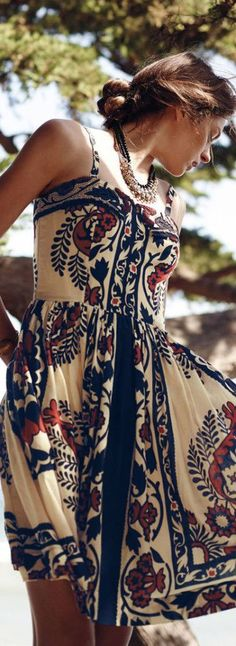 #street #fashion summer midi dress Flower print @wachabuy