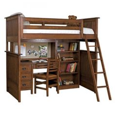 Bedroom Furniture Wooden Bunk Bed With Computer Table And Ladder Adult Loft Bed With Desk
