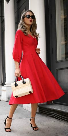 30 Dresses in 30 Days | Day 7: Meet the Parents // Red balloon sleeve midi dress with buttons, low block heel black ankle strap sandals, wicker straw box bag with dark contrast handles, oval sunglasses {Straud, Steve Madden, Mark Cross, summer style, classic outfit, fashion blogger}