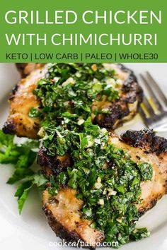 For this grilled chicken with chimichurri sauce, the chimichurri doubles as the marinade and the sauce. It's a quick and easy weeknight meal you can throw on the grill. And it's gluten-free, dairy-free, and paleo. Serve a tomato cucumber salad alongside t