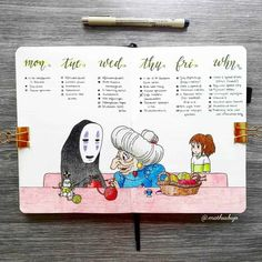 Looking for 40 absolutely adorable Studio Ghibli themed bullet journal ideas? well look no further for some amazing bujo spread inspiration! Bullet Journal Paper, Bullet Journal Books, Bullet Journal School, Bullet Journal Ideas Pages, Bullet Journal Layout, Bullet Journal Inspiration, Art Journal Pages, Journal Format, Bullet Journal Aesthetic