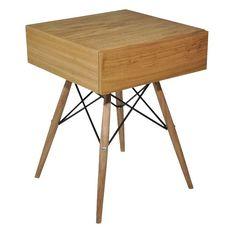 Criado mudo Eiffel ou mesa lateral com gaveta em lâmina natural de freijó e pés em madeira e metal.