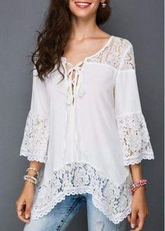Fashion Sexy Women Loose Lace Blouse VNeck sleeves T Shirts Tops for Daily leisure >>> More info could be found at the image url. (This is an affiliate link) Lace Tops, Lace Blouses, Street Style Women, Blouse Designs, Stylish Outfits, Blouses For Women, Fashion Dresses, Womens Fashion, Fashion Trends