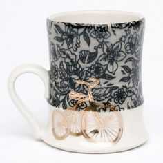 Melissa Mencini's bicycle mug, 4 in. high, porcelain, 2011.
