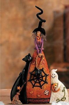 Cute Halloween Figurines-WITCH with CAT and GHOST, Set of 3 ***SO CUTE***