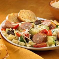 Johnsonville(R) Three Cheese Oven-Roasted Pasta Primavera Allrecipes.com I've made this a few times, and we LOVE it ❤❤❤❤