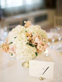 Ivory Hydrangea and Pink Rose Centerpiece | photography by http://www.claryphoto.com