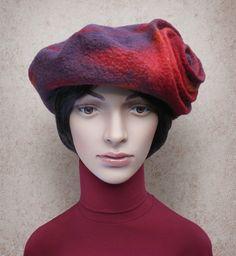 Red Winter Hat Retro Style Beret for Ladies Merino Wool Felt
