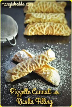 Pizzelle Cannoli, all the flavors of cannoli but less work! Pizzelle Cannoli, all the flavors of cannoli but less work! Pizzelle Cannoli, all the flavors of cannoli but less work! Pizzelle Cookies, Pizzelle Recipe, Cannoli Recipe, Pizzelle Maker, Cookie Desserts, Just Desserts, Cookie Recipes, Dessert Recipes, Gourmet Desserts