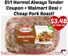 $1/1 Hormel Always Tender Coupon + Walmart Deal = Cheap Pork Roast! Head over and print this $1/1 Hormel Always Tender Meat Product coupon and use it to score a great deal on Pork Roast!   Click the link below to get all of the details ► http://www.thecouponingcouple.com/11-hormel-always-tender-coupon-walmart-deal-cheap-pork-roast/ #Coupons #Couponing #CouponCommunity  Visit us at http://www.thecouponingcouple.com for more great posts!