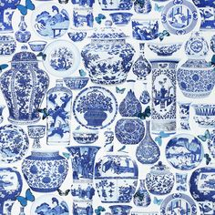 The Pink Pagoda: Blue and White Monday -- Blue and White Fabric chinoiserie, china patterns, toile, blue, ginger jars, ebay, jardin bleu, manuel canova, illustration art
