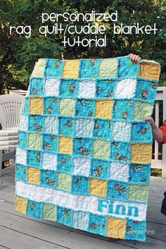 Boy Rag Quilt Tutorial by Krysta Fecke, via Flickr  I've made several of these but never thought to personalize it - I like that!