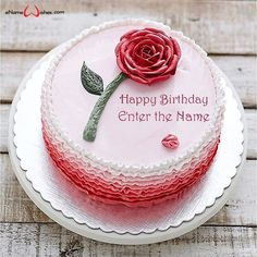 Happy Birthday Flower Cake with Name Edit - eNameWishes Happy Birthday Flower Cake, Cake Name, Wishes Images, Names, Desserts, Flowers, Screen Wallpaper, Food, Create