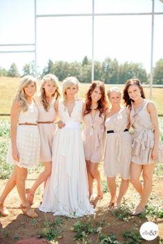 Neutral Mismatched Bridesmaids Dresses