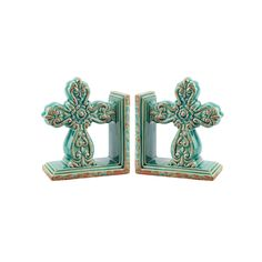 Stonebriar Collection 2 Piece Baroque Cross Bookend Set, Turquoise/Blue  (Turq/