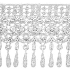 13 Yards of Elizabeth Lace Fringe Trim The Lace Fringe Trim is a fantastic fringe for scarves, shawls and other garments and accessories that have a Victorian flavor. It is also a beautiful trim for valances and table runners! Crazy Quilting, Dress Sewing Patterns, Doll Patterns, Tassel Curtains, Long Fringes, Victorian Lace, Pom Pom Trim, Fringe Trim, Crochet Lace
