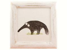 Obrazek Mrówkojad w drewnianej ramce - Pracownia-Plum - Ozdoby na ścianę