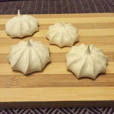 Vegan meringues made with aquafaba (chickpea cooking liquid).