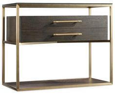 Palmer Nightstand with Brass Accents, Bed Down Furniture