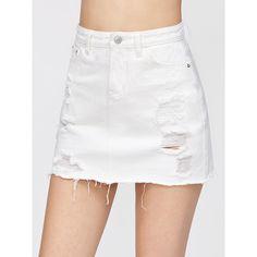 SheIn(sheinside) Distressed Fray Hem Denim Skirt ($14) ❤ liked on Polyvore featuring skirts, a-line skirt, short skirts, white skirt, white knee length skirt and distressed denim skirt
