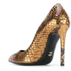 Ermanno Scervino snakeskin effect metallic pumps (4,915 SAR) ❤ liked on Polyvore featuring shoes, pumps, snakeskin pumps, snake skin shoes, ermanno scervino, snakeskin shoes and print shoes