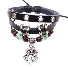 Prime Leader 2015 Fashion Vintage Leather Bracelets Bangles Punk Style Personality Handmade Skeleton Bracelet For Men Brown Gift Pulseiras *** Wow! I love this. Check it out now! : Gift for Guys