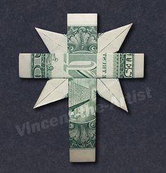 Dollar Bill Origami Christian Cross