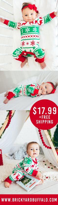 Christmas jammies! This holiday romper is perfect for baby boy OR baby girl!  #babyboy #babygirl #holidays #christmasjammies #christmaspjs #kidsclothes #babyclothes #onesie #brickyardbuffalo #christmasonesie https://presentbaby.com