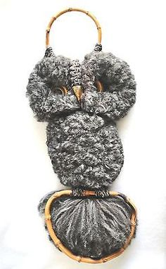 Vintage Mid Century Macrame Tufted Owl Wall Hanging 16 Inch 1970s