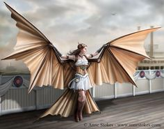 Fantasy women and dragons by Anne Stokes Steampunk Cosplay, Gothic Steampunk, Steampunk Wings, Steampunk Kunst, Style Steampunk, Steampunk Fashion, Steampunk Images, Anne Stokes, Dragons