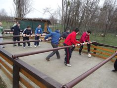 A real life game of Fooseball. If somebody can spin their player in this game then I wont be mad, I will be impressed!