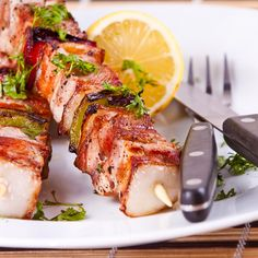Who can resist a recipe with bacon wrapped anything?. Sweet Bacon Wrapped Chicken Kabobs Recipe from Grandmothers Kitchen.