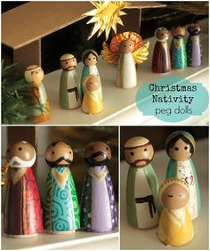 A Christmas Nativity Craft For The Whole Family: Make your own nacimiento with wooden peg dolls, via Nativity Peg Doll, Christmas Nativity Set, Wood Peg Dolls, Nativity Crafts, Clothespin Dolls, Christmas Wood, Christmas Projects, All Things Christmas, Holiday Crafts
