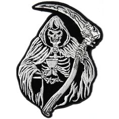 Reaper Skull Sand Clock Embroidered Iron on Patch Iron On Patches, Skull Patches, Riders Jacket, Back Patch, Large Clock, Grim Reaper, Gothic Fashion, Hot Rods, Machine Embroidery