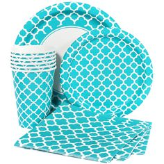 Teal Quatrefoil Party Supplies. We've got plates, cups, napkins, and table covers!