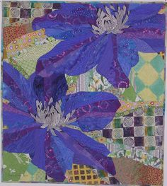 One of many amazing art quilts by Ruth McDowell. Blue Clematis - Love it! Quilting Projects, Quilting Designs, Blue Clematis, Art Tribal, Quilt Modernen, Flower Quilts, Textiles, Textile Fiber Art, Landscape Quilts