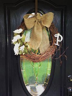 DIY wreath with burlap bow and monogram
